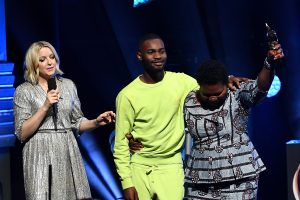 Winner rapper Dave speaks on stage with his mum after receiving the Hyundai Mercury Prize: Albums of the Year Award at Eventim Apollo, Hammersmith