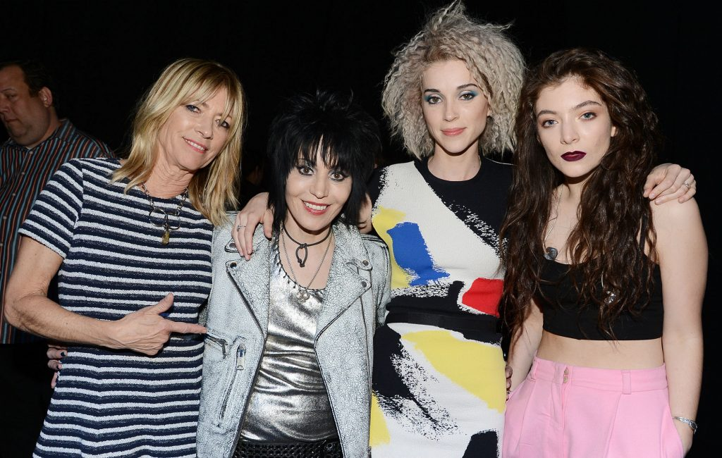NEW YORK, NY - APRIL 10: (L-R) Musicians Kim Gordon, Joan Jett, St. Vincent and Lorde pose backstage at the 29th Annual Rock And Roll Hall Of Fame Induction Ceremony at Barclays Center of Brooklyn on April 10, 2014 in New York City. (Photo by Theo Wargo/WireImage)