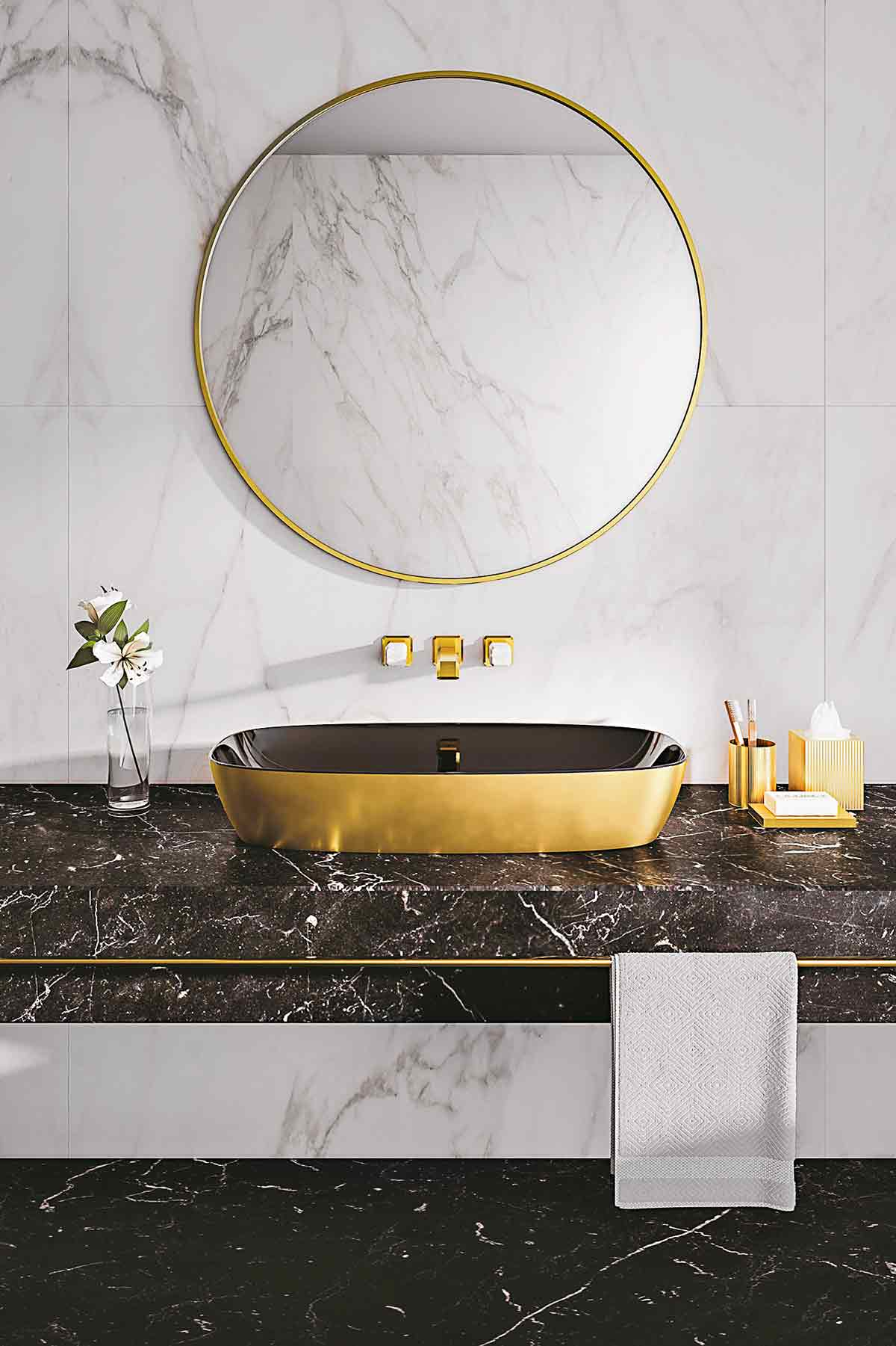 Green Lux 80 Basin In Gold And Black 1108 80 Catalano Co Uk